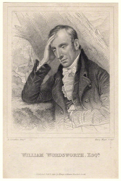 Wordsworth adopts a pensive pose, with his head resting on his hand, in this stipple engraving. …
